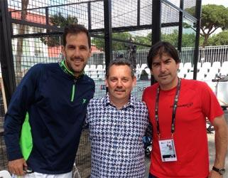 Juan Martin Diaz (left), Claudio Galuppini (Forgiafer - center) e Cristián Gutiérrez (right) on the occasion of the international Padel 2016 at the Foro Italico in Rome.